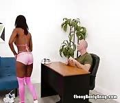 Ebony Babe Blows Hung Talent Agent