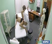 Horny doctor fucks a patient with a wet pussy