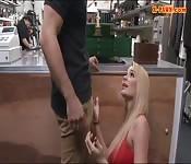 Big boobs blond woman railed by pawn guy