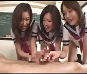 Asian schoolgirls ride the teacher's cock