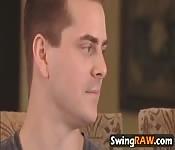 Lesbian foursome swinger amateurs show
