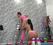 Horny Lesbian Gym Buddies Do Cunnilingus