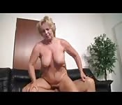 Blonde Granny Fucks Younger Man