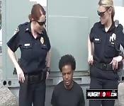 Blonde lesbian cop sucking a big dicked suspect