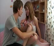 A passionate fuck with a skinny teen.