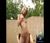 Christel dildoing naked at the garden