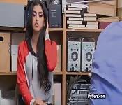 Spicy Latina thief blows security guards hard cock