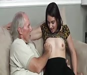Young lady satisfying the old