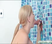 Pretty blond teen railed in the bathroom