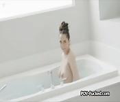 Wet big tit gf from bathtub to cock