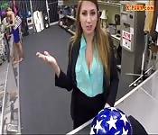 Big tits lady sells helmet and smashed