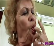 Dirty busty granny gets pussy drilled