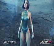 3D animated superhero Angelita fucked by an alien