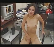 Small boob Arab girl with two guys in the office