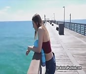 PAWG teen blows on the beach for cash