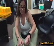 Babe in white top banged by pawn keeper