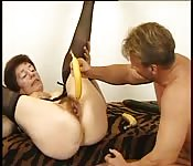 Horny german granny get fucked by a dick and a banana.
