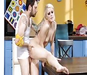 Hot blonde fucking at the kitchen
