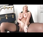MILF fucks in black stockings
