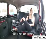Sexy blonde passenger fucked in the taxi