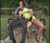 Une magnifique brune se fait baiser sur un banc