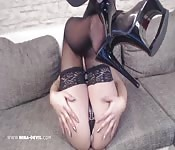 German babe shows everything off