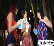 Three teen bitches get smashed outdoors