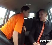 Chick Blows Hung Driving Instructor