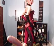Harley Quinn dress up girl plays with herself