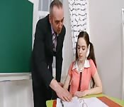 Petite brunette teen fucks her happy teacher
