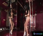 Pole dancer Christina Bella play with dildo