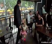 Big tits blonde takes dp in public bar