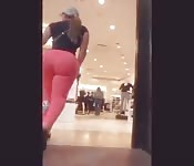 Huge ass walks through mall