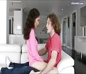 Brunette teen slut enjoys first creampie