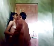 Hot babe fucks in the shower