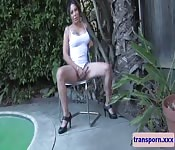 Mature wanking shemale bends over outdoors