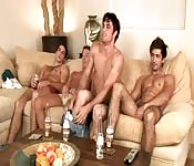 A group of friends jerk off together