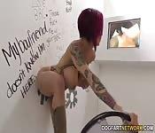 Busty tattooed Glory hole slut