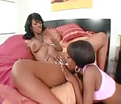 Two black lesbians work each other in the pussy