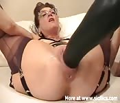 Gaping MILF takes fat toys