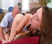 Step-daughter catches friend fucking step-daddy