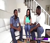 Hot brunette teaches horny black dude