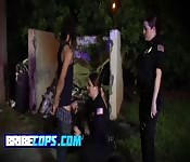 Stunning police MILFs bribing black dude
