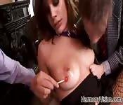 Dois granes paus para uma sexy francesa