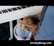 Blonde Kenzie Kai Sneaky Blowjob