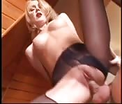 Blonde MILF gets her stockings ripped wide for cock