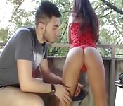 Amateur teen couple fucking and sucking outside