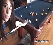 Amateur Latina fucked on pool table