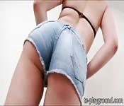 Tempting blonde TS Mirela Abelha masturbation show