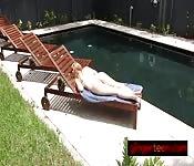Hot redhead hottie sunbathes in the nude